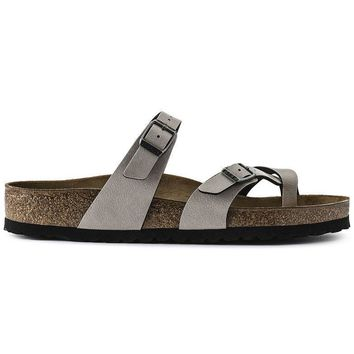 Birkenstock Mayari Birko Flor Pull Up Stone 1005056 Sandals - Ready Stock