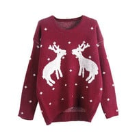 Autumn Winter Casual Christmas Reindeer Loose Sweater Women Female Deer Pullovers Long-sleeve Knit Pullover Women Sweaters