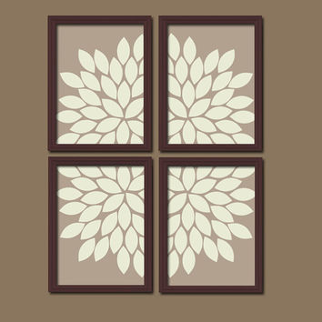 Bold Beige Brown Ivory Flourish Design Artwork Set of 4 Prints Dahlia Bloom Flowers Bedroom WALL Decor Floral ART Pictures