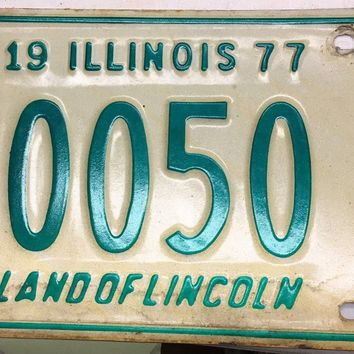 1977 Illinois Driver Education License Plate 0050 A