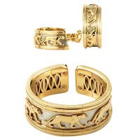 Cartier Panthere Panther Gold Bangle and Earclip Suite