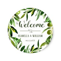 Elegant Olive Leaf Boho Garden Wedding Welcome Classic Round Sticker