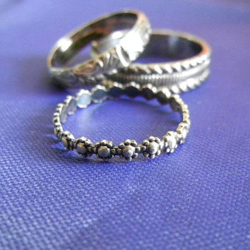 Stylish Stackers, Stacking Rings, Sterling Stacks of 3 Rings, Choose Three for One low Price