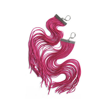 Fuchsia Long Fringe Earrings / Magenta Large Statement Earrings / Pink Shoulder Dusters / Raspberry Dangle Earrings