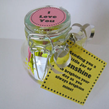 Happy Jar I LOVE YOU present girlfriend wife birthday cheer up gift daily positive affirmations motivational inspirational quotes in a jar