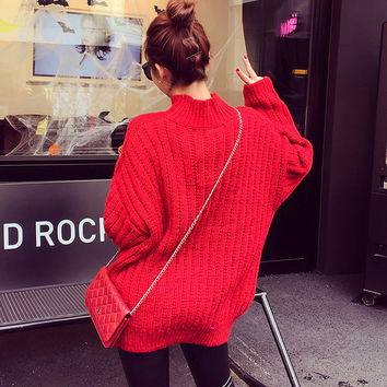 Autumn Korean Women's Fashion Thicken Slim High Neck Long Sleeve Sweater [8664678407]