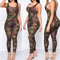 Camo print skinny Romper jumpsuits full length sexy backless Sleeveless cheap price Casual New Style 2017 camouflage Womens