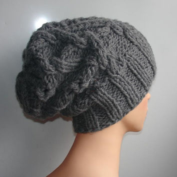 Handmade Knit Cable Hat Beanie Slouchy Hat Beanie Large for Men / Women GRAY Baggy cabled Slouchy hat Warm hat