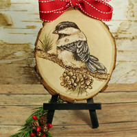 Christmas  Chicakadee and Pinecones On Natural Wood Slice. Christmas Home Decor.