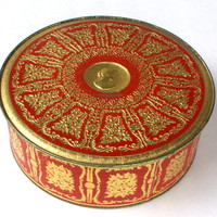Vintage Round Cameo Tin Red and Gold | Craftori