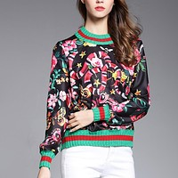 GUCCI HOT SALE Round neck letters printed loose long sleeve sweater black