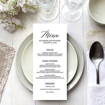 Dinner party menu template, Editable PDF, Wedding buffet menu template, Black & white elegant rustic menu cards, 4x9 5x7, Instant download