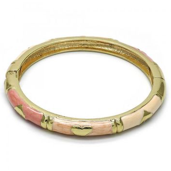 Gold Layered Individual Bangle, Heart Design, Golden Tone