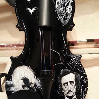 Hand Painted Edgar Allan Poe Tell Tale Heart Inspired Violin