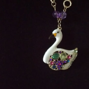 statement necklace swan pendant crystal rhinestone enamel bird duck 28 inch long womens fashion jewelry popular Betsey Johnson inspired