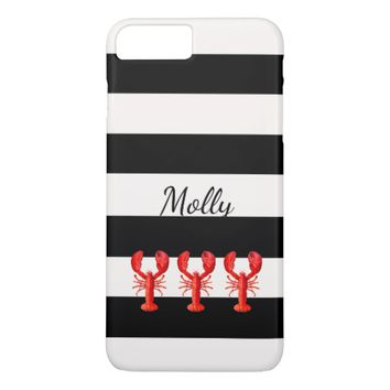 Red lobsters on black and white nautical stripes iPhone 7 plus case
