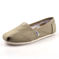 Men Women Soft Casual Canvas Summer Breathable TOMS Shoes Khaki Flats