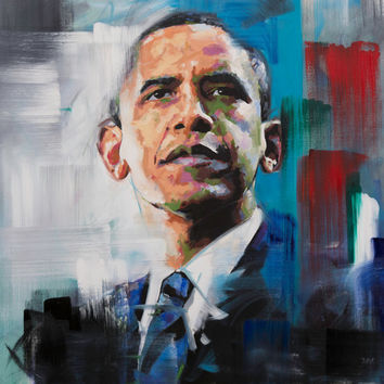 "Barack Obama, Original Painting, 30"", 40"", Art, Oil, President, USA, Worldwide Shipping, Richard Day"