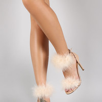 Faux Fur Ankle Strap Single Sole Stiletto Heel
