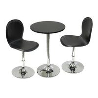 """Spectrum 3 Piece Set, 20"""" Round Table with 2 Swivel Faux Leather Chairs"""