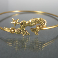 Gold Mermaid Bangle bracelet - Gold Mermaid Jewelry - Nautical Jewelry - Beach Jewelry - Beach wedding - Nautical wedding - Bridesmaid gift