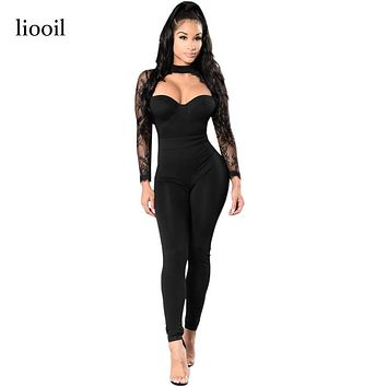 Liooil Black Lace Patchwork Jumpsuit Sexy See Through Floral Embroidery Long Sleeve Turtleneck Hollow Out Bodycon Women Rompers