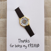 Peacock colors handmade card personal note fashion Indian style brown band girl woman Mother + Daughter Bond Card Watch