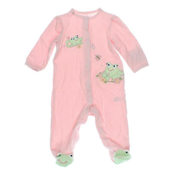 Little Me Girls Embroidered Footie One-Piece Pajamas - 3 MO / Pink Print
