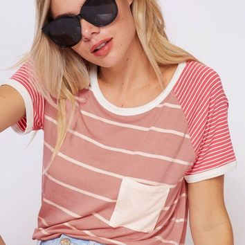 Veronica Striped Pocket Tee - Dusty Pink