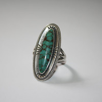 Large Antiqued Sterling Silver with Oval Turquoise Stone Ring Vintage Sterling Silver Ring Size  8.5 - free ship US