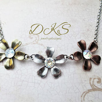 Swarovski Flower Necklace, Tri Color, Linked Flowers, Crystal Moonlight, Adjustable, Spring, Summer, DKSJewelrydesigns,FREE SHIPPING