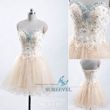 b46e880b6a7 Champagne Short Mini Homecoming Dress Ball Gown Evening Dress Party Prom  Dresses