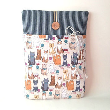 Cat MacBook Air 13 Case, Cat MacBook Pro Retina Sleeve, MacBook Pro Cover, 13 .3 inch Laptop Pouch, Kitten Laptop Bag Cord Pocket Animal Sac