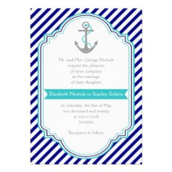 Navy blue, aqua anchor & stripes nautical wedding invitations from Zazzle.com