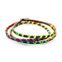 Colorful leather bracelet
