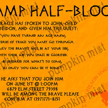 Percy Jackson party invitation, customized