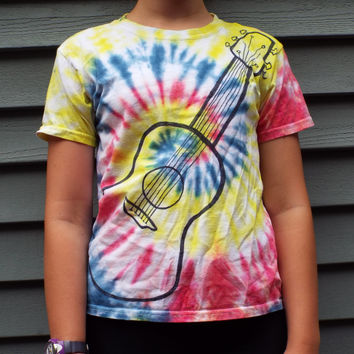 Kids Guitar Shirt, Youth Small, TieDye Music TShirt for Kids, Guitar T-Shirt, Music Lover, Musician Gift, Guitarist, Childrens Tie-Dye