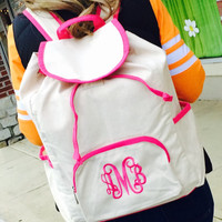 Large Canvas Backpack with Hot Pink Trim  Font shown INTERLOCKING in bright pink