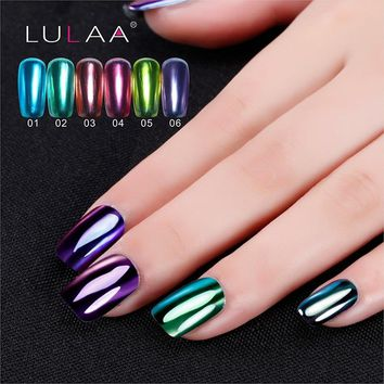 LULAA 6ML Mirror Effect Top Coat Metal Nail Polish Multi-color Paint Topcoat Enamel Metallic Nail Art Lacquer Tips Design DIY