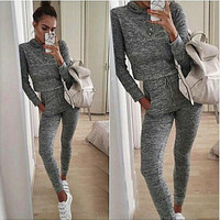 Solid color hooded short paragraph trousers Slim Sports Package
