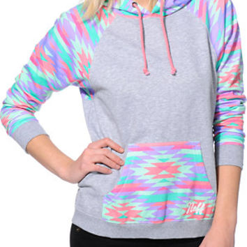 Neff Girls Vacation Grey & Native Print Pullover Hoodie