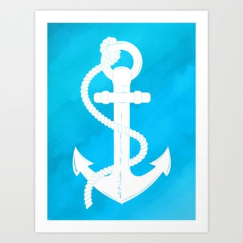 White Anchor Art Print by Texnotropio