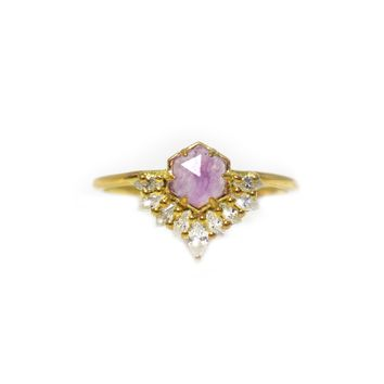 Lilac Quartz & Diamond Petite Cherie Ring