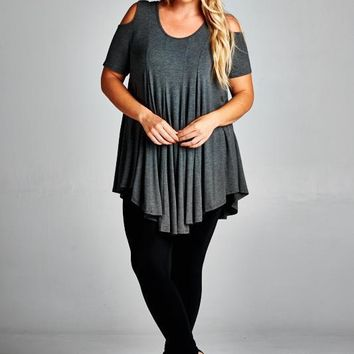 Short Sleeve Open Shoulder Top with Front Pleats - Charcoal