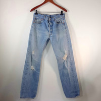 Vintage High Waisted Jeans - LEVI'S 501 Jeans - Nicely Distressed - Size LEVI 34 x 36 or US 6/8