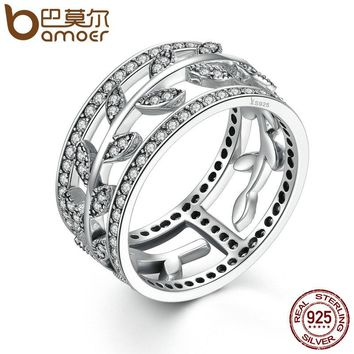 Genuine 100% 925 Sterling Silver Vivid Tree Leaves DIY 2 pcs Finger Ring Women Fashion Jewelry Party SCR009