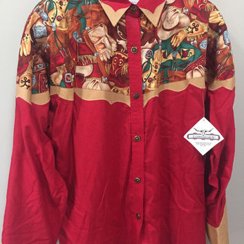Vintage Cowboy Shirt, NEW Texas Longhorn Country Western Shirt, Red Khaki Cowboy Print, Sherif Star Buttons, NWT Vintage Texas Cowboy Oxford
