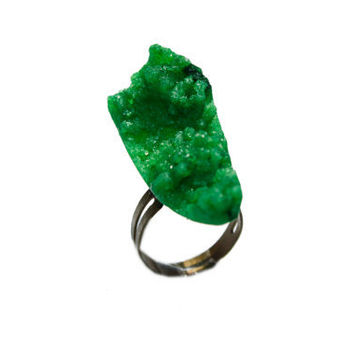 Green Rock Druzy Ring