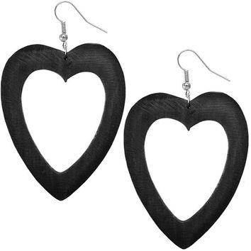 Black Wooden Heart Earrings