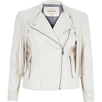 River Island Womens Cream leather-look fringed biker jacket